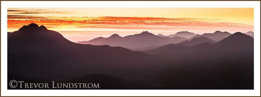 At sunset and looking west over the western peaks of the Stirling Range.