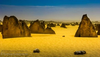 This eerie light over the Pinnacles landscape was caused by a wind and sand storm