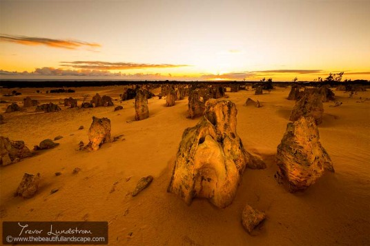 Looking west towards the setting sun in the Nambung National Park